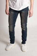 Vertical Moto Patch Skinny Jeans (Dark Blue)