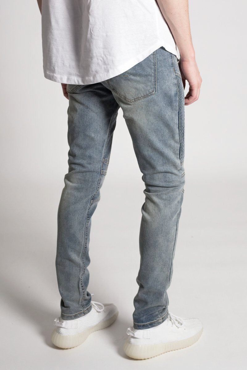 Vertical Moto Patch Skinny Jeans (Med. Blue)