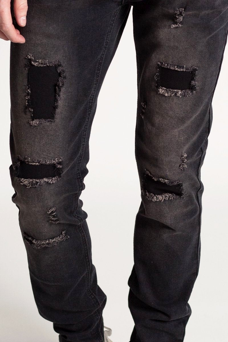Distressed Skinny Jeans (Black)