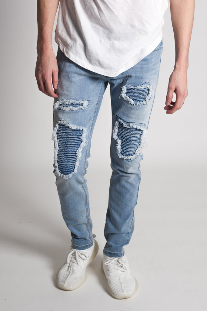 Distressed Moto Skinny Jeans (Light Blue)