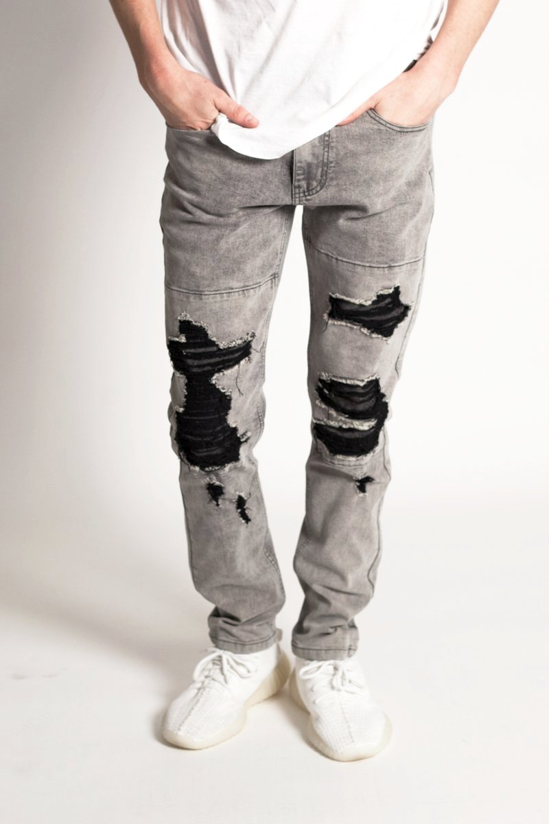 Patched Slim Jeans (Grey)