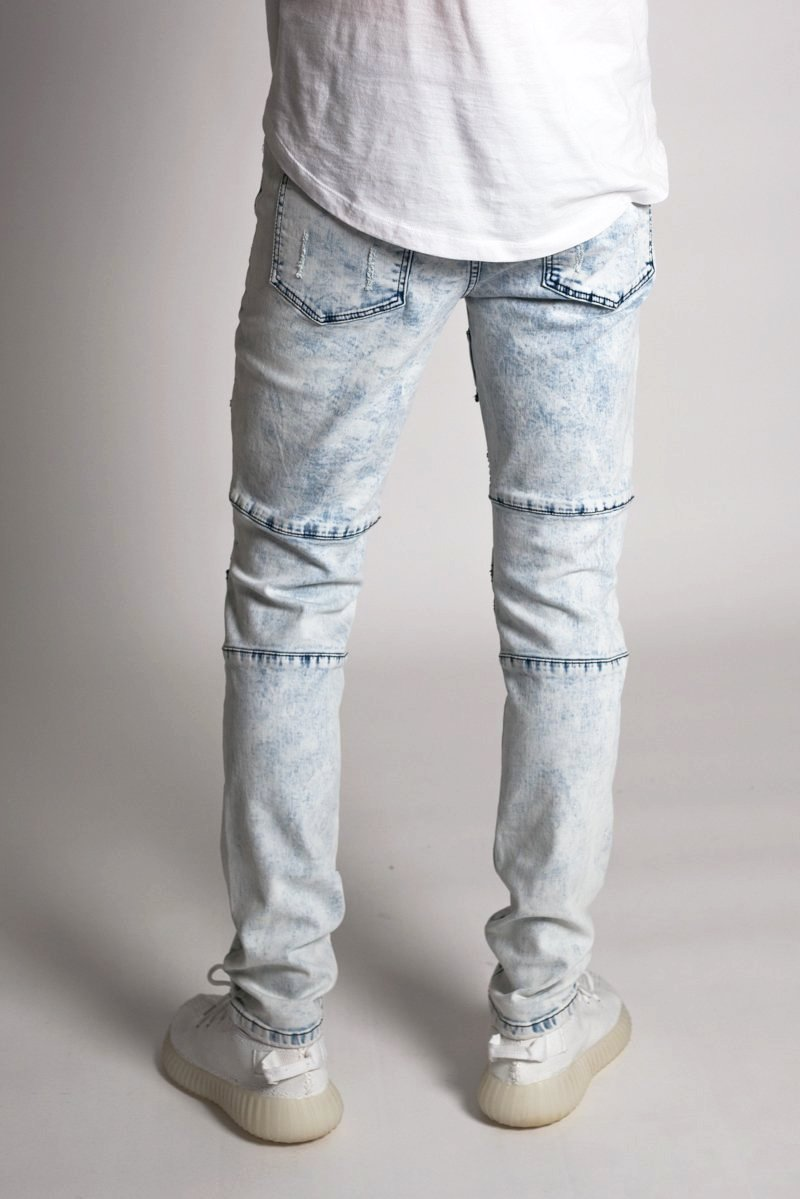 Distressed Biker Jeans (Ice Blue)