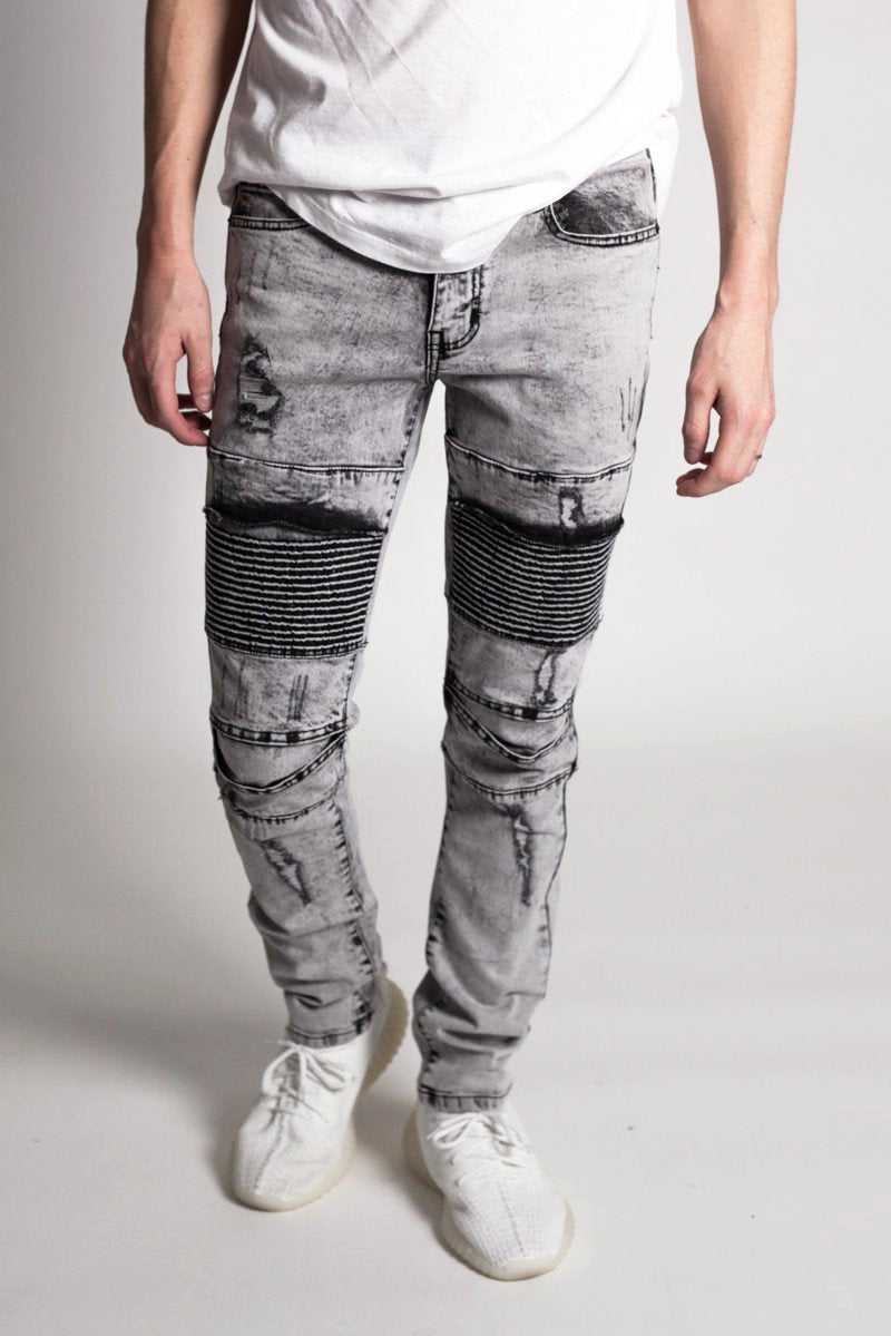 Distressed Biker Jeans (Ice Grey)