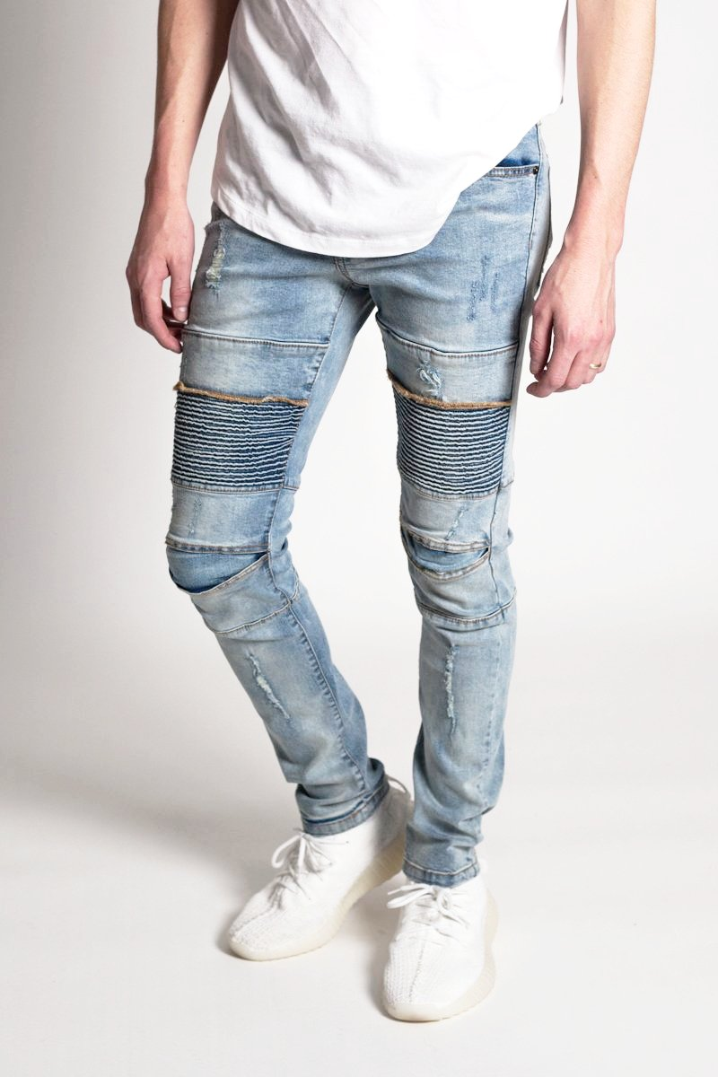 Distressed Biker Jeans (Medium Blue)