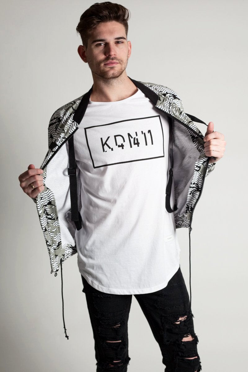 Printed Bomber Jacket (White)