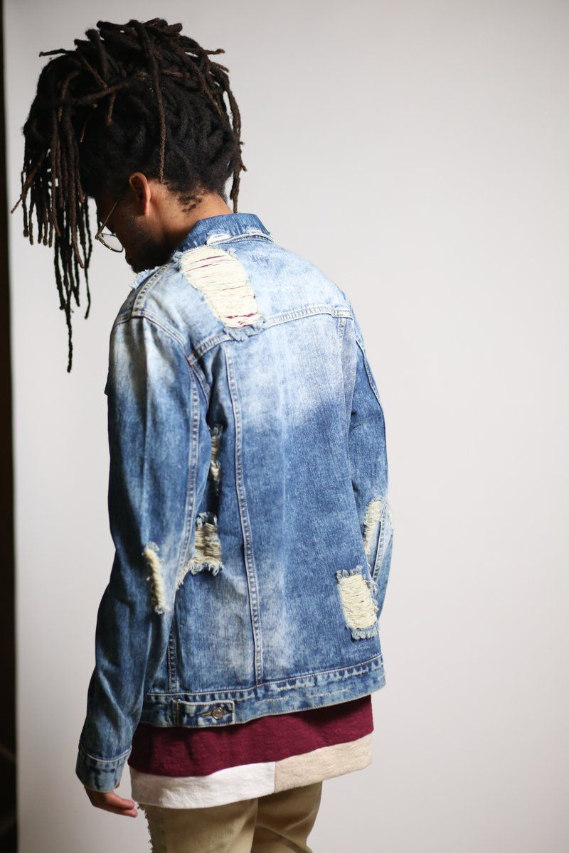 Distressed Denim Jacket (Medium Blue)-KDNK-KDNK-KDNKbrand.com-KDNK brand