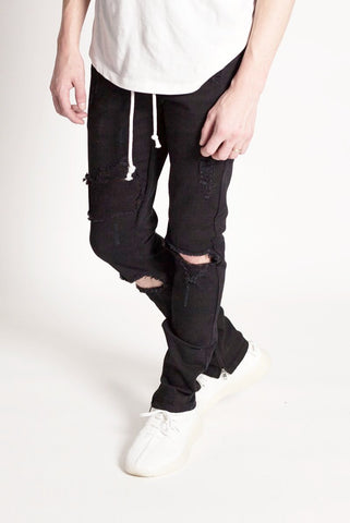 Distressed Ankle Zip Pants (Black)