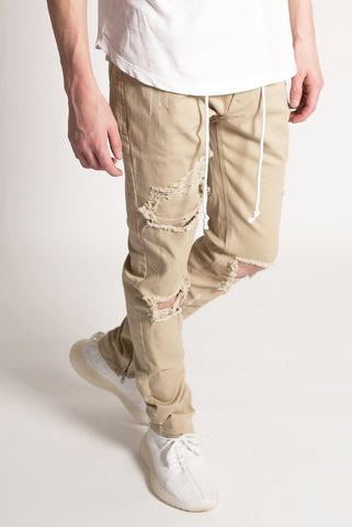 Distressed Ankle Zip Pants (Khaki)