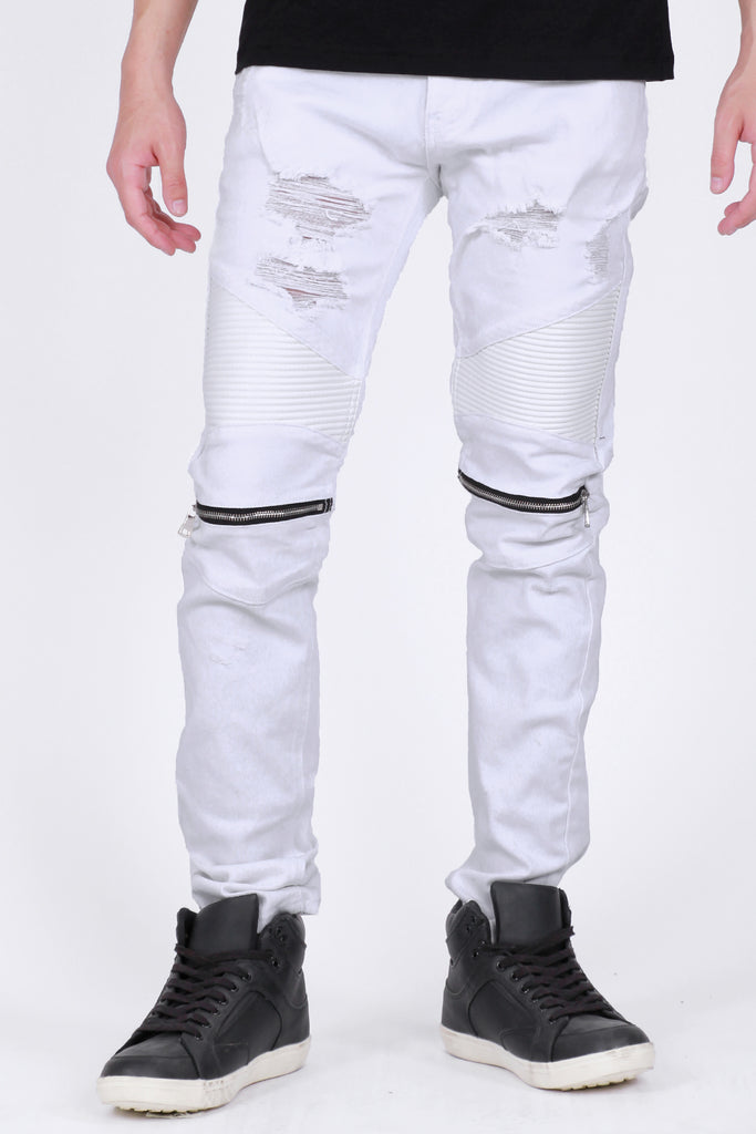 Knee Zippered Moto Pants (White)