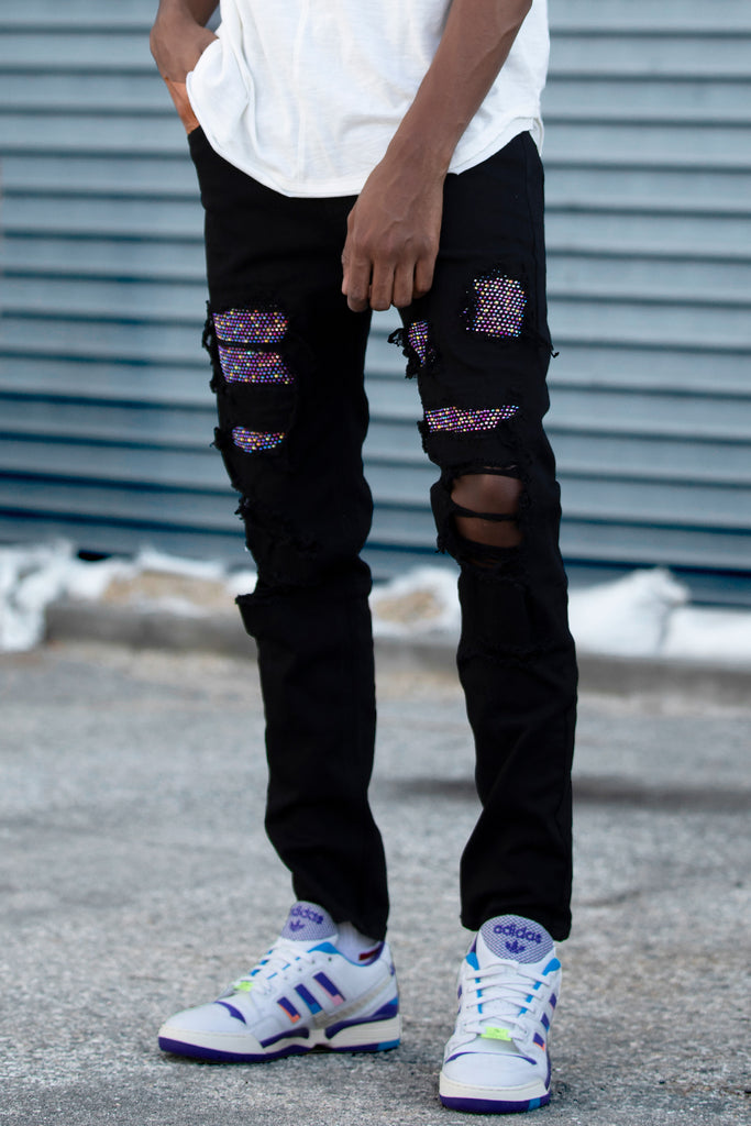 Multi Rhinestones Patched Twill Pants (Black/Prism)