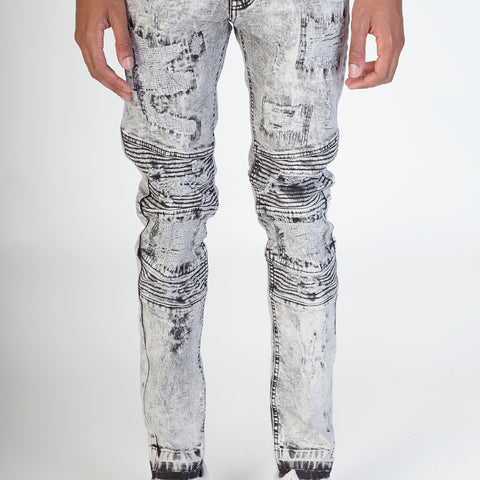 Destroyed Moto Jeans (Ice Gray)