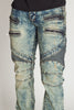 Acid Wash Moto Jeans (Acid Blue)