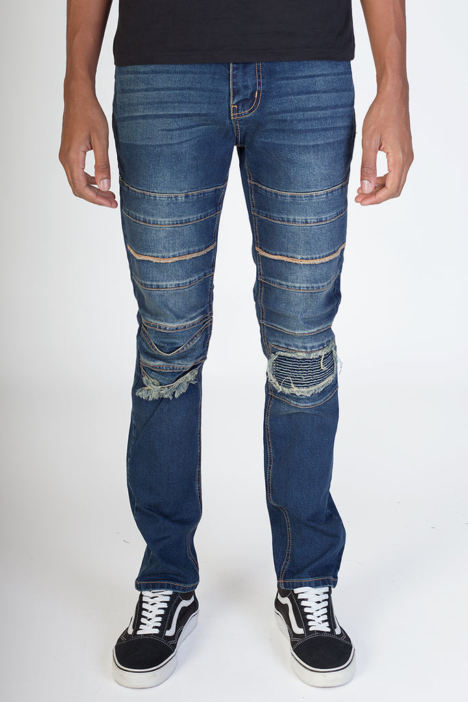 Slim Knee Patch Jeans (Aged Blue)