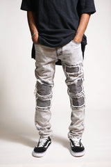 Slim Knee Patch Jeans (Ice Grey)-Kayden K-KDNK-KDNKbrand.com-KDNK brand