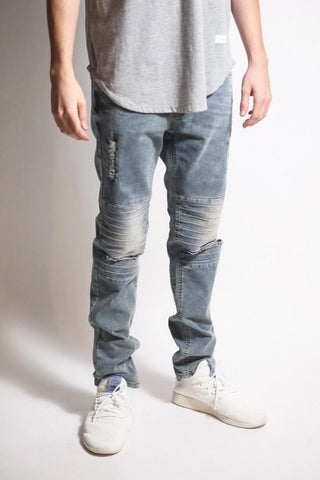 Pin Tucked Jeans with Knee Slit (Aged Lt. Blue)
