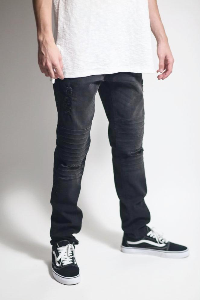 Pin Tucked Jeans with Knee Slit (Black)