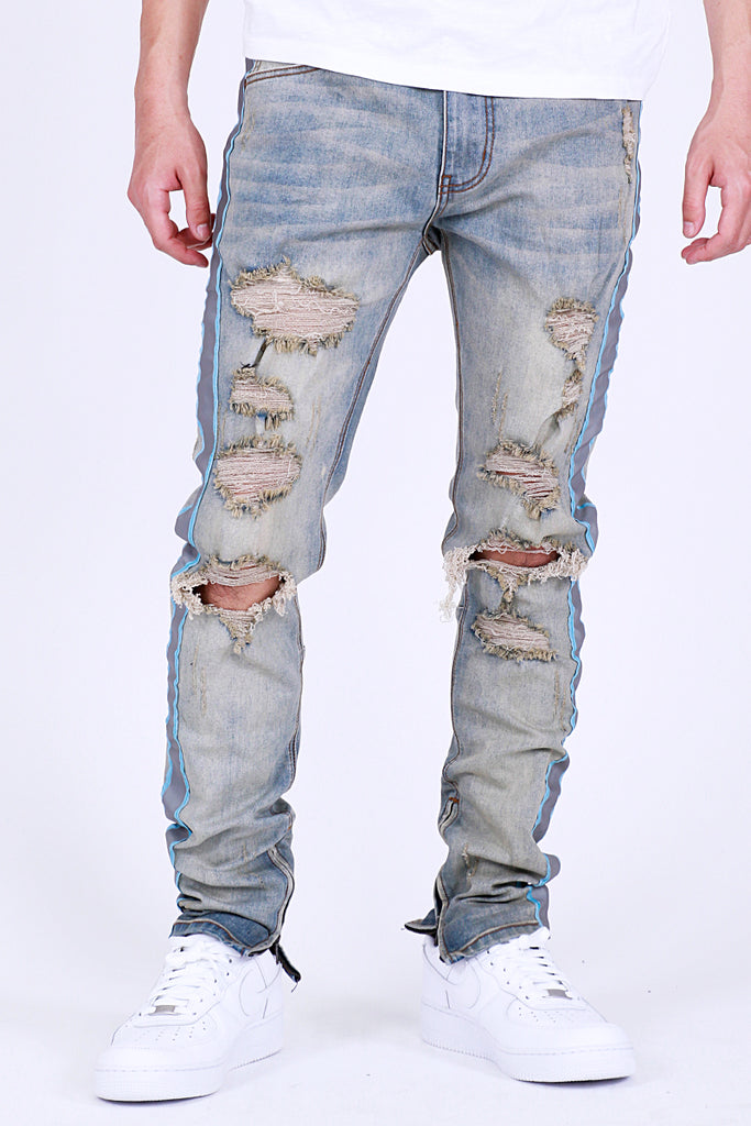Safety Taped Jeans (Tinted Lt. Blue)