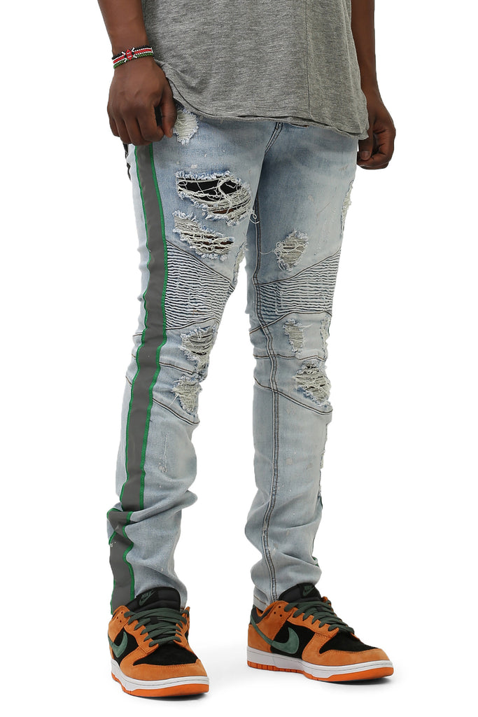 Moto Jeans W/ Safety Tape (BLUE)