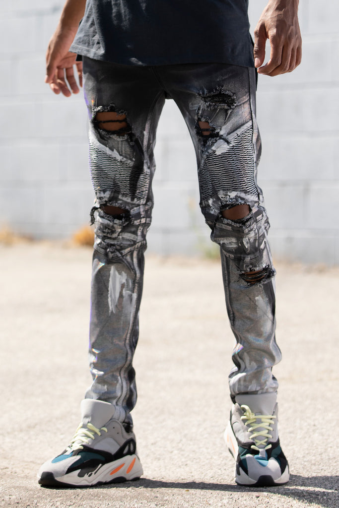 Prismatic Paint Moto Jeans (Black)