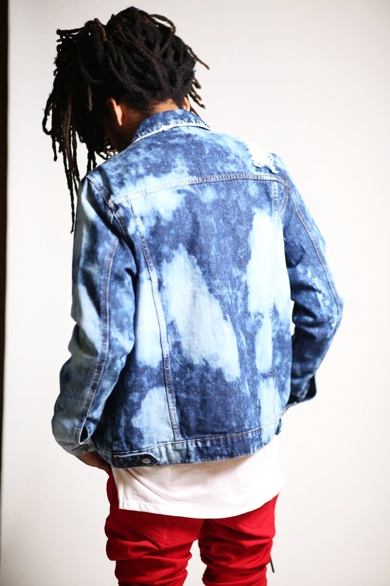 Distressed Denim Jacket (Dark Blue)-Kayden K-KDNK-KDNKbrand.com-KDNK brand