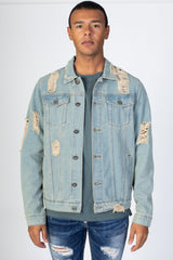 Distressed Denim Jacket (Medium Vintage)