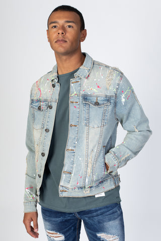 Destroyed Denim Jacket with Multi-Paint Splash (Tinted Light Blue)
