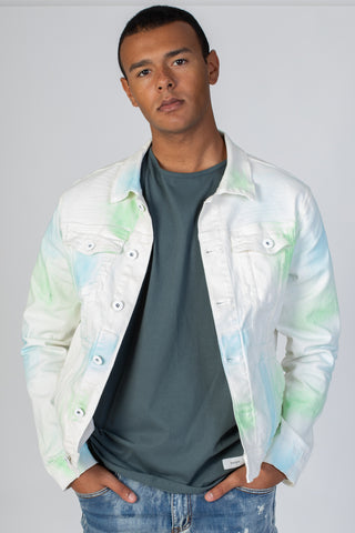 Twill Jacket with Multi-Color Spray (White)