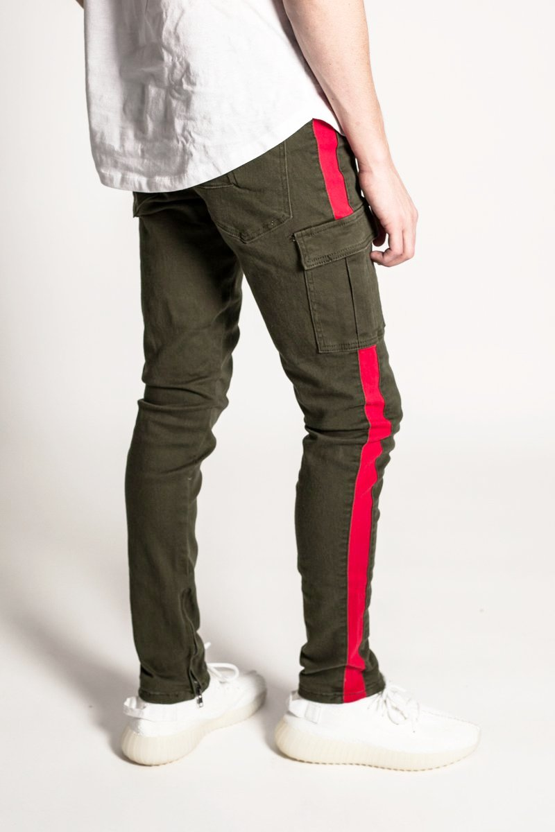 Striped Cargo Pants with Ankled Zippers (Olive)