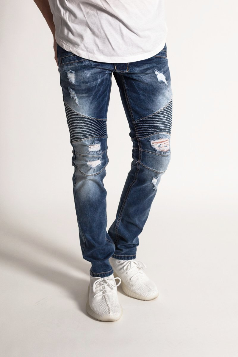 Destroyed Moto Jeans w/ Zipper (Dark Medium Blue)