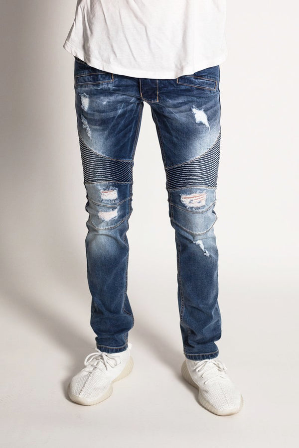 Destroyed Moto Jeans (Dark Medium Blue)