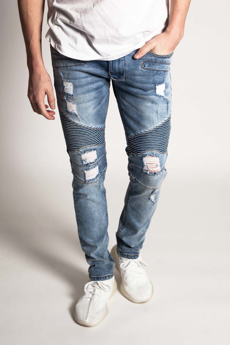 Destroyed Moto Jeans w/ Zipper (Medium Blue)