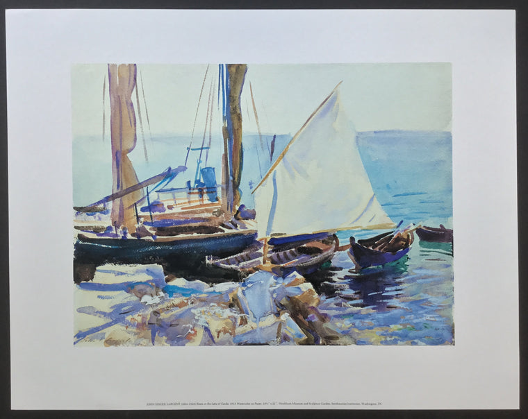 Special: Boats on the Lake of Garda, John Singer Sargent reproduction, 22 x 28 inches