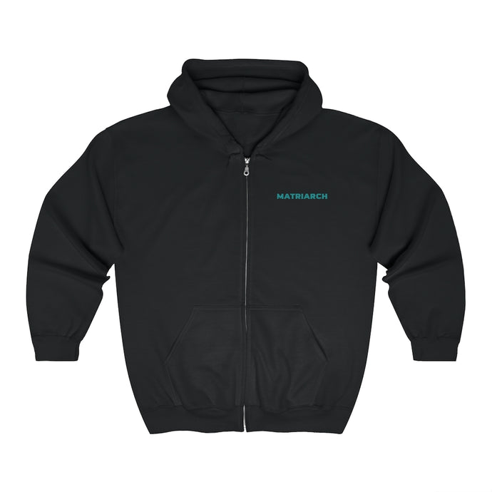 Matriarch Embroidered Zip Up Hoodie- Black/Teal