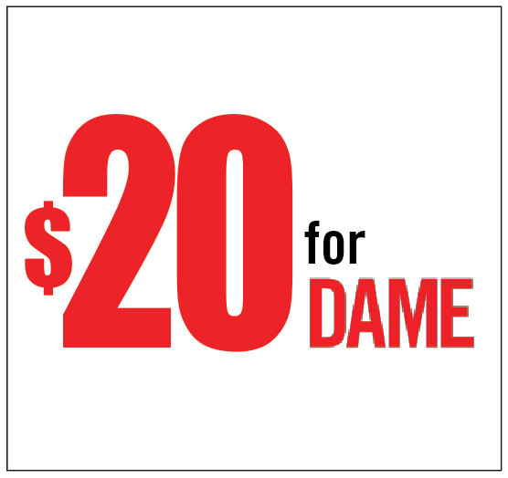 Support DAME Magazine with a $20 contribution