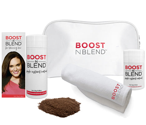 Boost N Blend Female Hair Loss Fibres Gift Pack with Towel Dark Brown