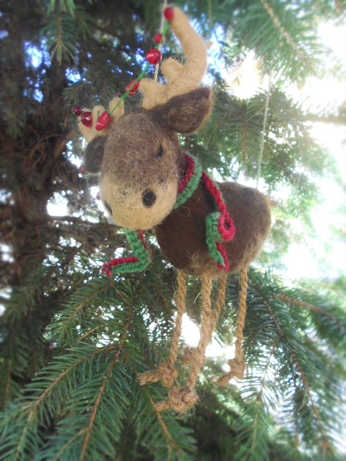 Rustic Christmas decoration, Felted reindeer figurine, Christmas reindeer
