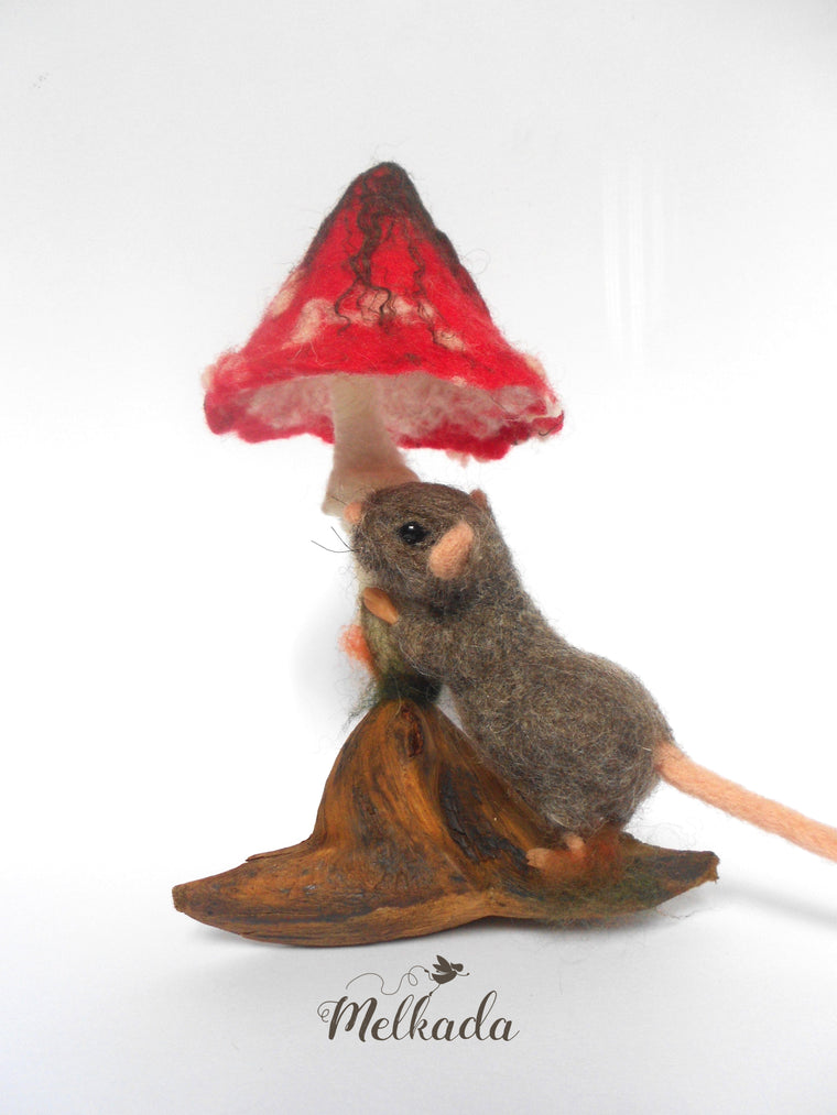 Needle felted mouse driftwood art