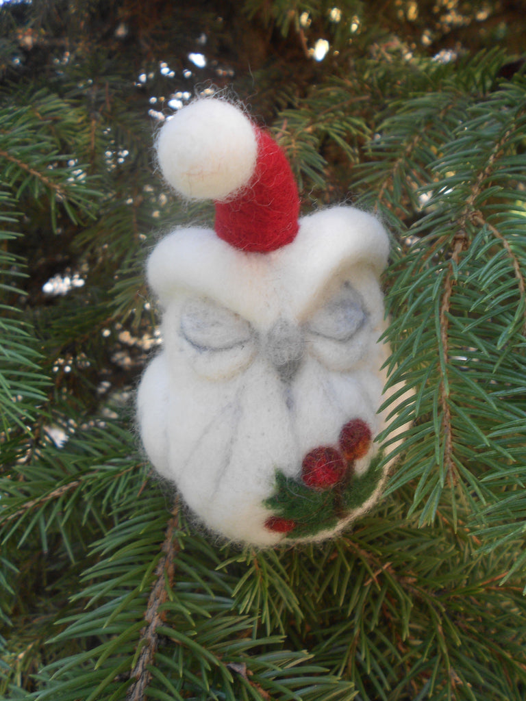 Christmas Owl decoration - Handcrafted needle felted owl - owl sculpture