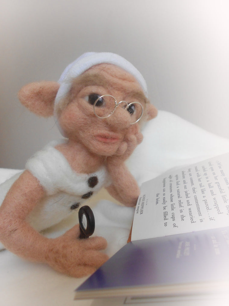 The Librarian, needle felted elf, OOAK elf, magical creature, gift for a book lover
