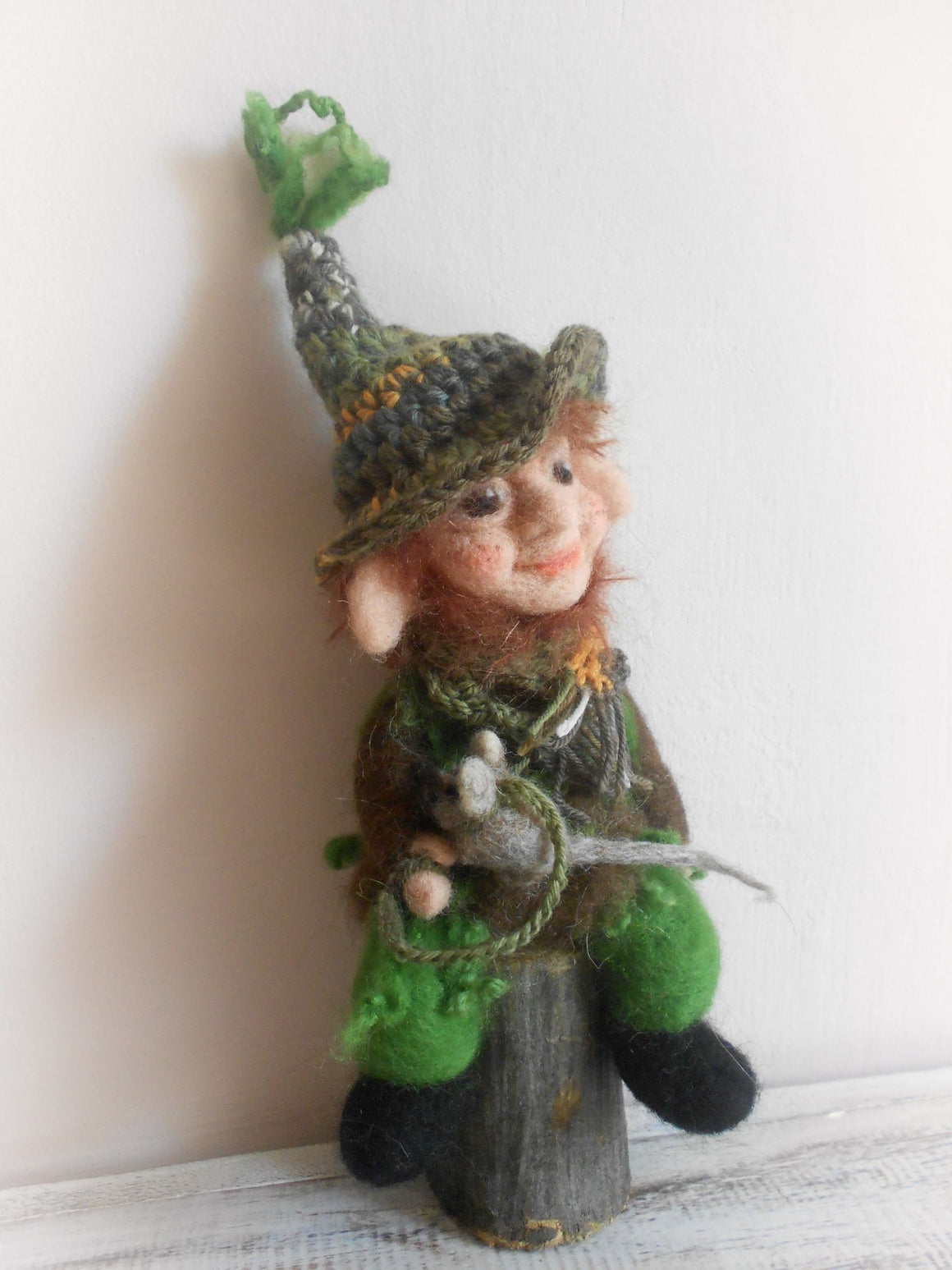 Mousie, needle felted elf, OOAK elf, magical creature, art doll, art elf, fairy, hobbit