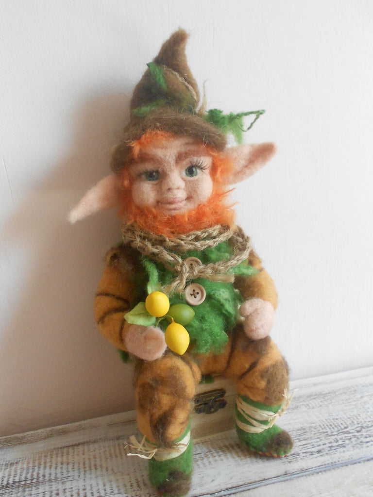 Chubb, needle felted elf, OOAK elf, magical creature, art doll, art elf, fairy, hobbit