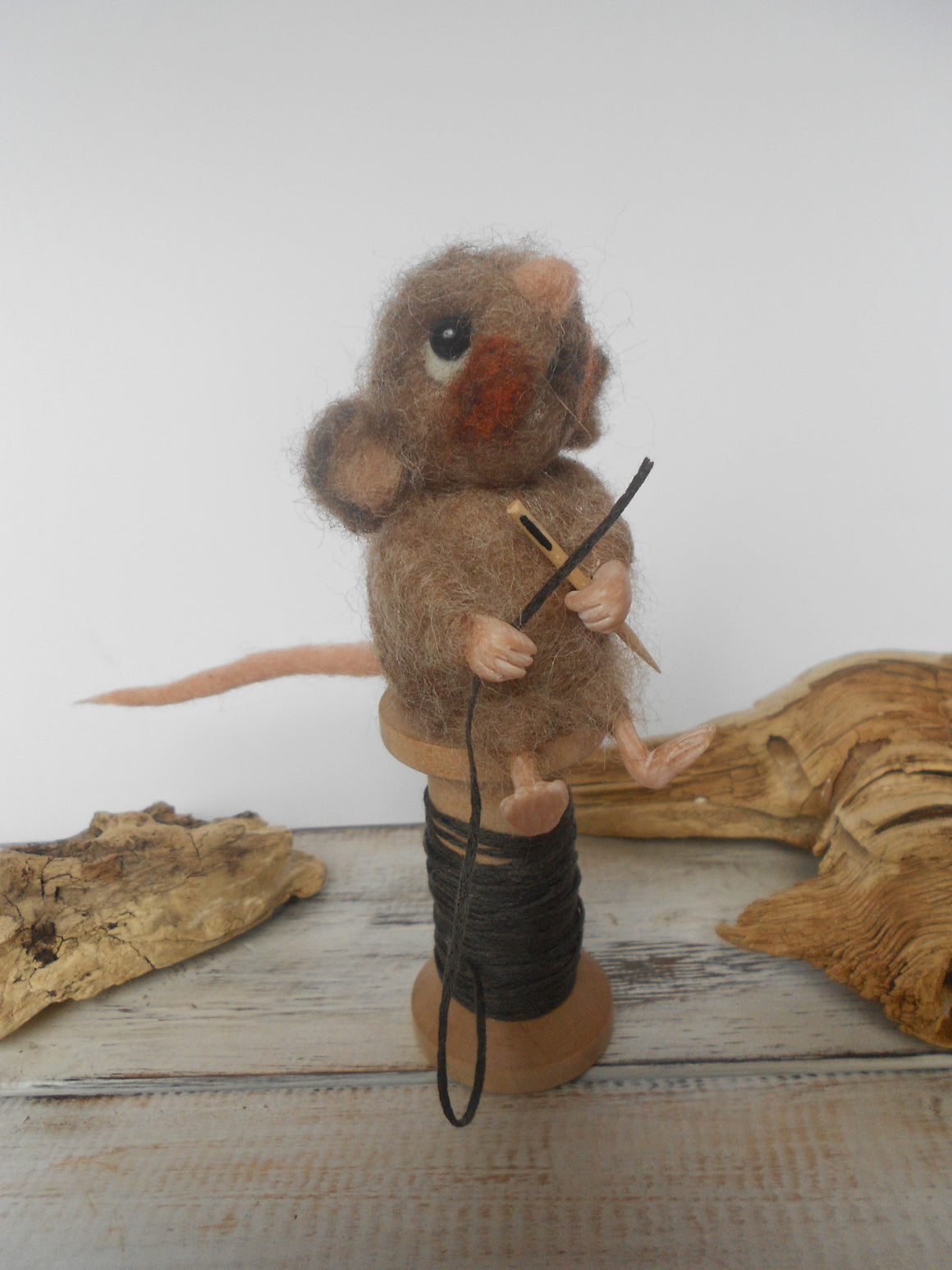 Mouse on a wooden spool - needle felted mouse - handmade decor
