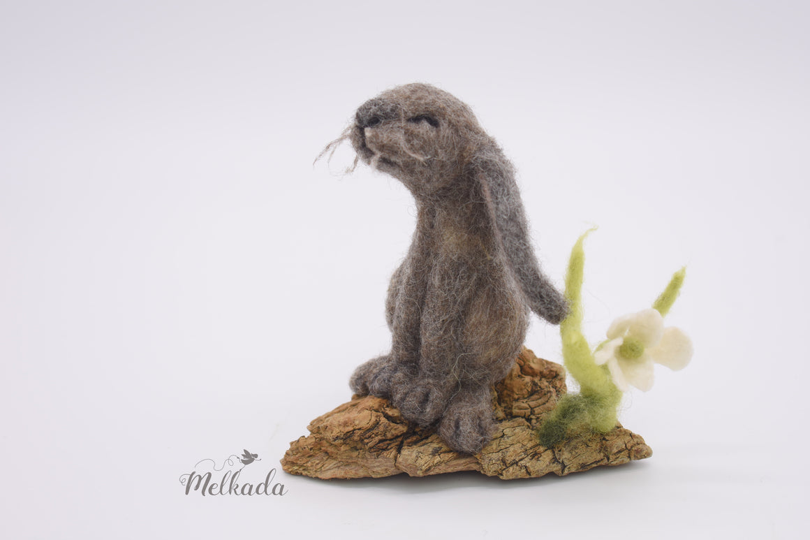 Needle felted rabbit driftwood art