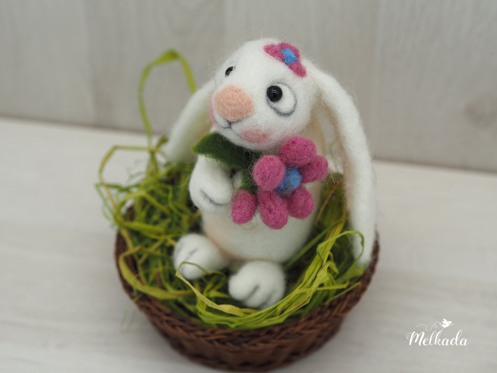 Easter rabbit, Needle felted Bunny, Easter decor, Easter bunny, Cute bunny, Rabbit decor, Kids room decor, Gift for bunny lovers, Gift for animal lovers
