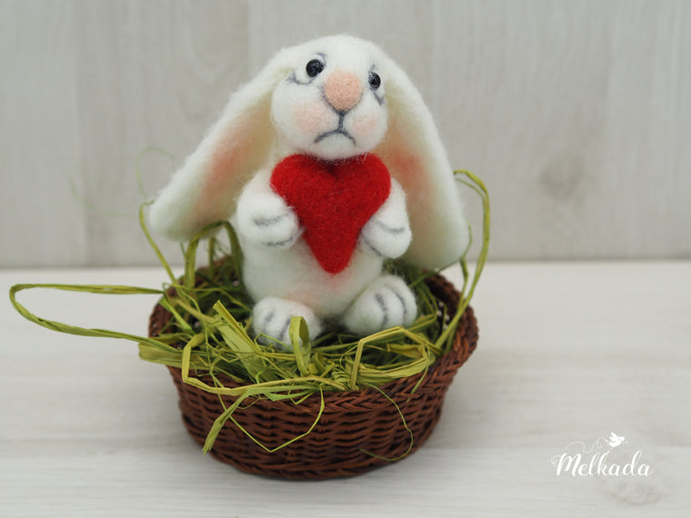 Easter rabbit, Needle felted Rabbit, Easter decor, Easter bunny, Cute bunny, Rabbit decor, Kids room decor, Gift for bunny lovers, Gift for animal lovers
