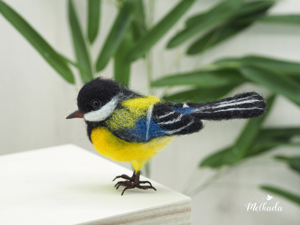 Blue Chickadee - Needle felted bird - faux taxidermy bird