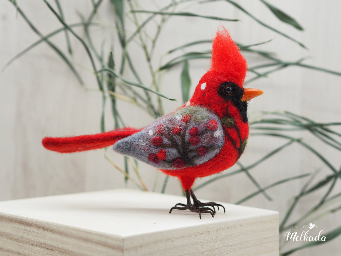 Needle felted Cardinal faux taxidermy bird sculpture with winter scenes