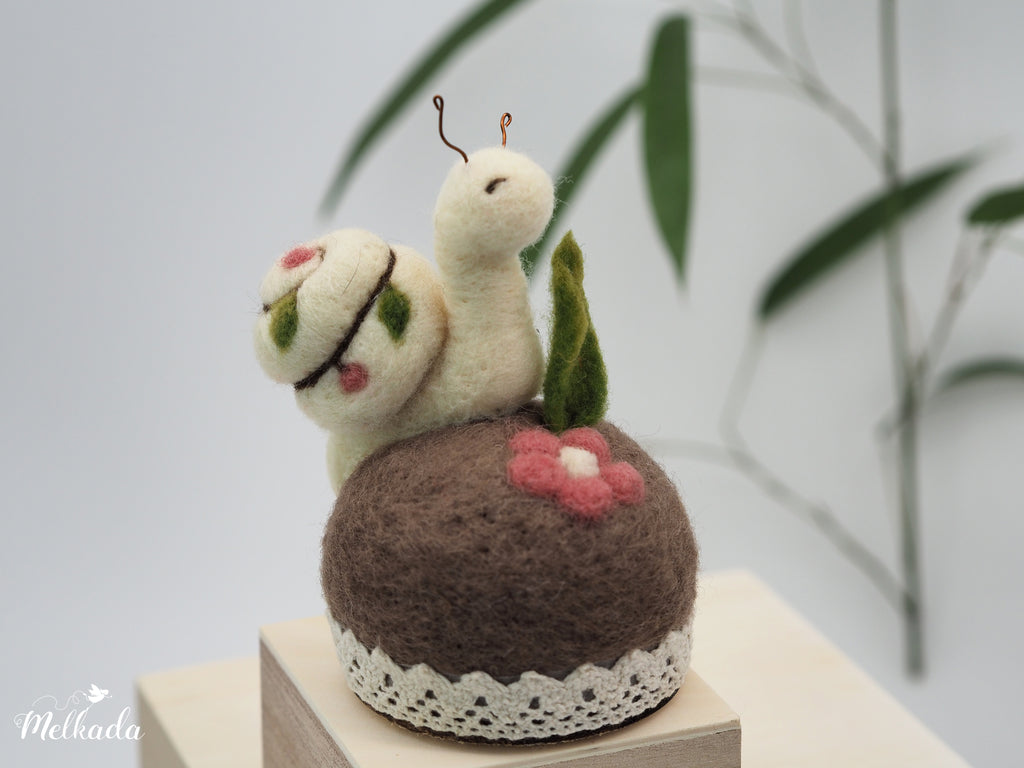 Snail pincushion, Felted snail, Snail figurine, Gift for a seamstress