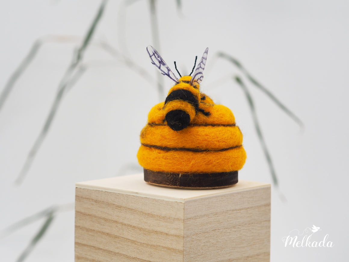 Beehive pincushion, Felt beehive, Bee pincushion, Bee art