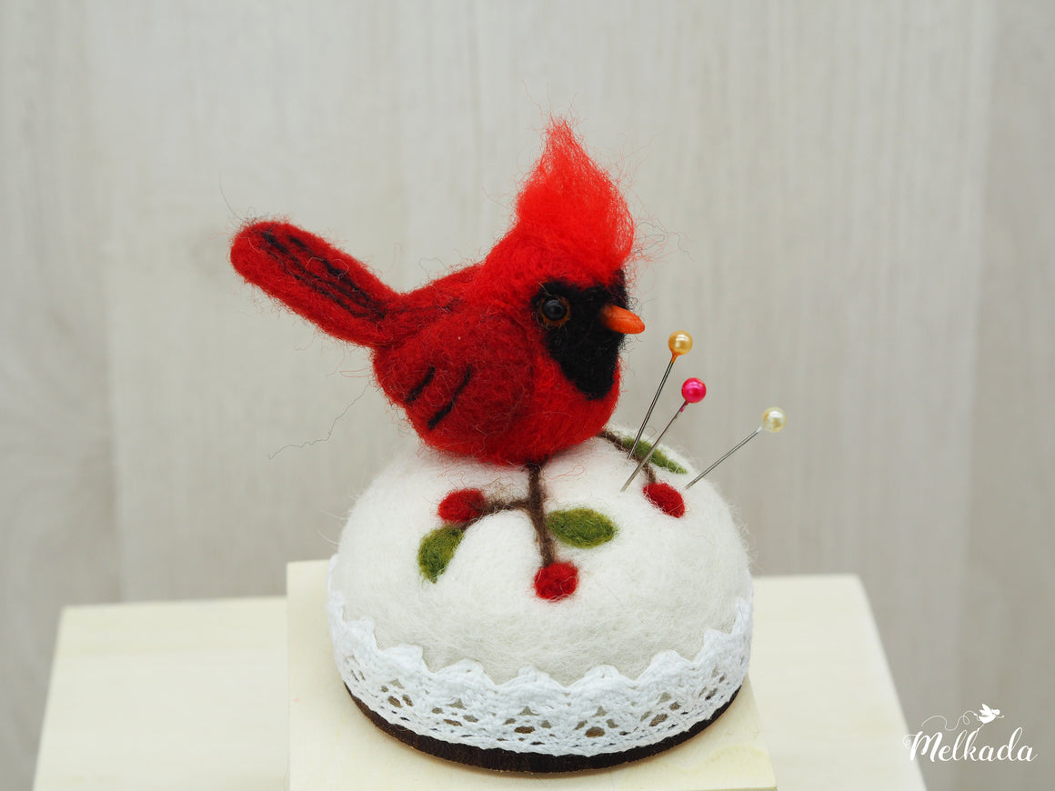 Felted Cardinal, Bird pincushion, Bird art, Bird sculpture, Cardinal figurine